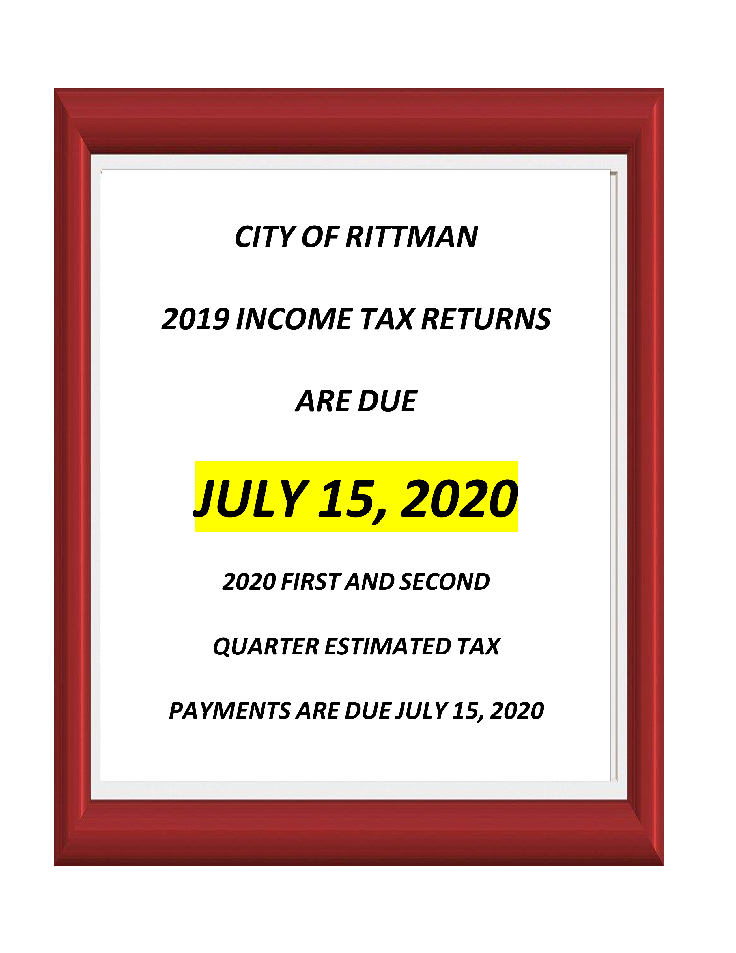 City of Rittman 2019 Tax Due Date July 15 2020